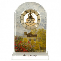 "Horloge de table ""Les Dahlias"" en verre de cristal - Monet"